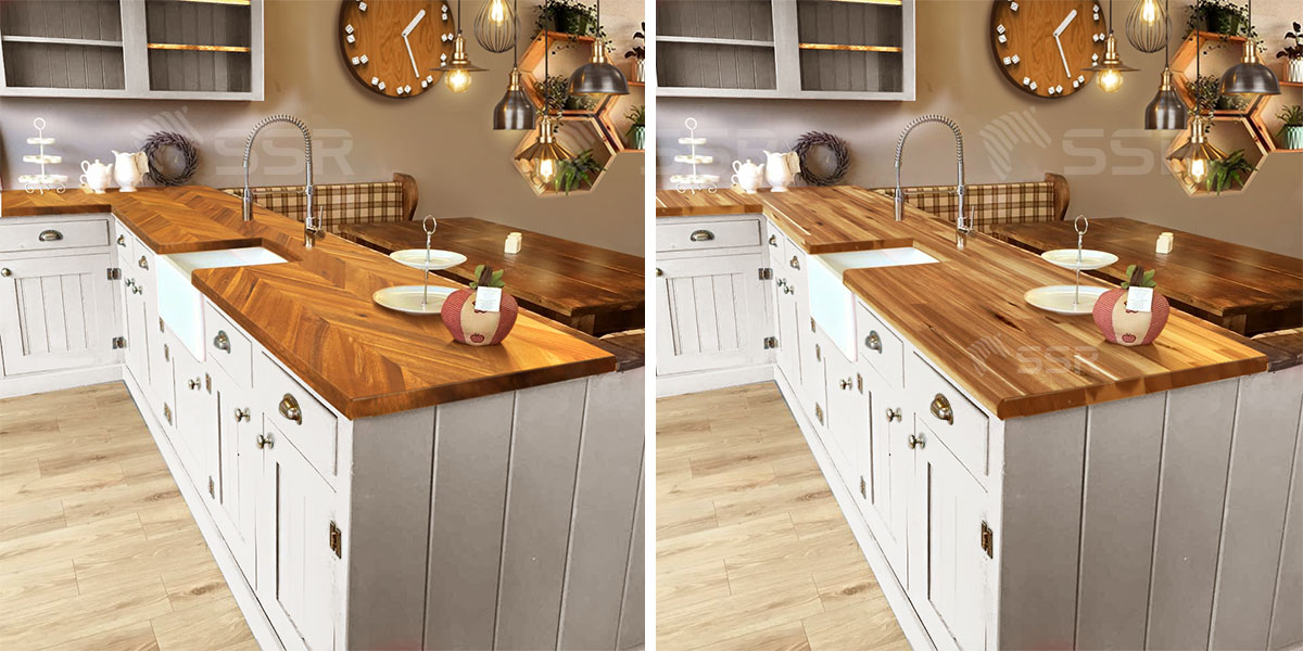 Acacia wood countertop in the kitchen